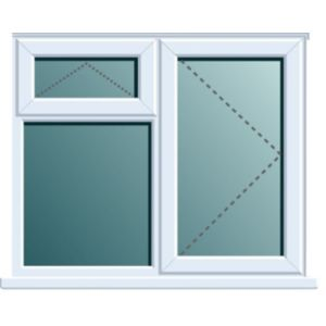 Image of White PVCu RH Side Hung with Top Vent over Fixed Lite Window (H)970mm (W)905mm