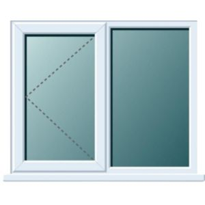 Image of White PVCu LH Side hung with fixed lite Window (H)1120mm (W)1190mm