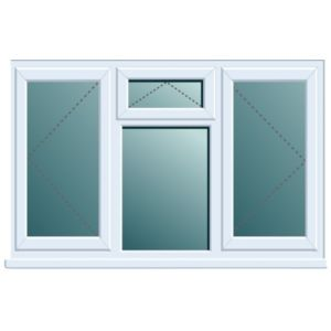 View White PVCu Double Side Hung with Top Vent over Fixed Lite Window (H)1120mm (W)1760mm details