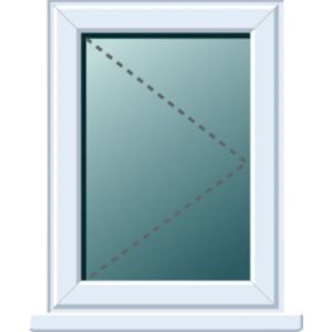 Image of White PVCu RH Side Hung Window (H)820mm (W)620mm