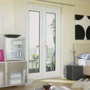 View Clear Glazed PVCu External French Door Set, (H)2055mm (W)1490mm details
