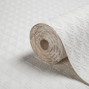 View Flame Stitch Stripe White Vinyl Wallpaper details