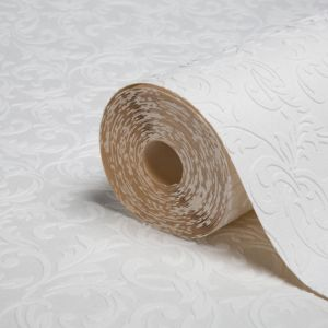 View White Scroll Paintable Wallpaper details