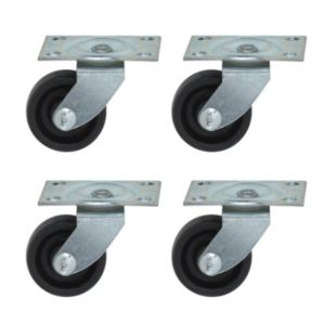 View B&Q Plate Fitting Rigid Castor, Pack of 4 details