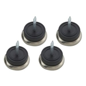 View B&Q Black Metal Nail-In Glide (Dia)23mm, Pack of 4 details