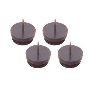 View B&Q Brown Plastic Nail-In Glide (Dia)22mm, Pack of 4 details