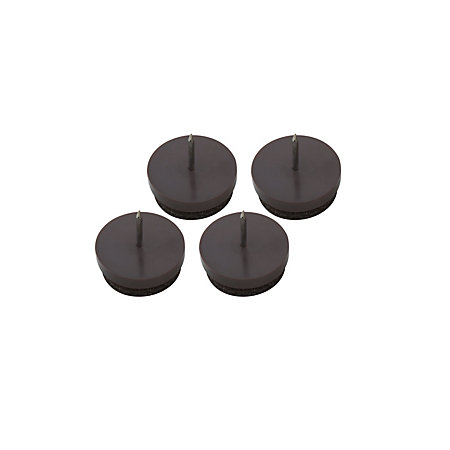 B q brown plastic with felt pads nail in glide dia 25mm pack of 4 departments tradepoint - Screw in felt pads ...
