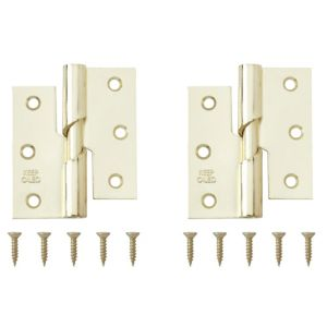 View Brass Effect Metal Rising Butt Hinge, Pack of 2 details