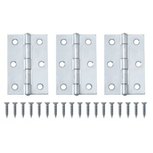View Chrome Effect Metal Butt Hinge, Pack of 3 details