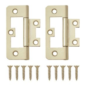 View Brass Effect Metal Flush Hinge, Pack of 8 details