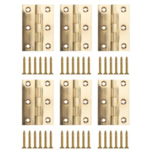 View Brass Effect Metal Butt Hinge, Pack of 6 details