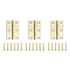 View Brass Effect Metal Butt Hinge, Pack of 3 details