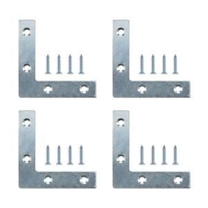 View B&Q Zinc Effect Steel Corner Plate (W)75mm (L)75mm, Pack of 4 details