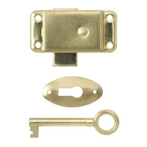 View B&Q Brass Plated Steel Wardrobe Lock (L)51mm details