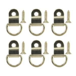 View B&Q Brass Effect Picture Hook Pack of 6 details