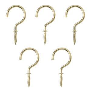 Image of B&Q Brass Effect Metal Cup Hook Pack of 25