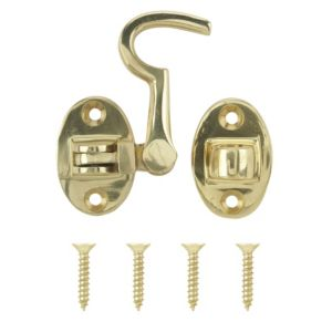 View B&Q Brass Effect Cabin Hook (L)70mm details