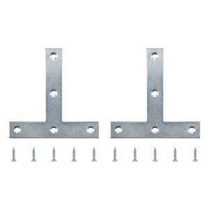 View B&Q Zinc Effect Steel Tee Plate (L)100mm, Pack of 2 details