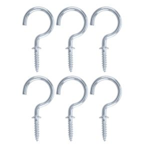 View B&Q Zinc Effect Metal Cup Hook, Pack of 6 details