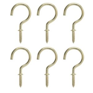 View B&Q Brass Effect Cup Hook (L)55mm, Pack of 6 details