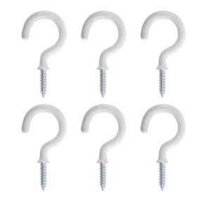 View B&Q White Metal Cup Hook, Pack of 6 details