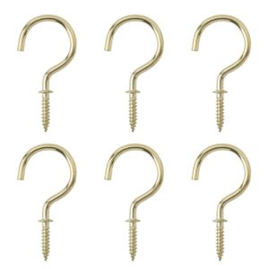 View B&Q Brass Effect Cup Hook (L)46.5mm, Pack of 6 details
