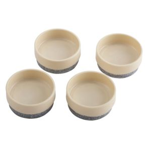 View B&Q Cream Felt & Plastic Castor Cup (Dia)45mm, Pack of 4 details