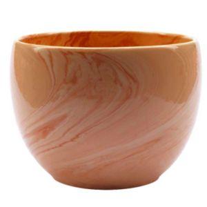 Image of Glazed Brown Marble Effect Plant Pot (H)13cm (Dia)15cm