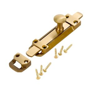 View B&Q Antique Effect Brass Straight Bolt (L)148mm details