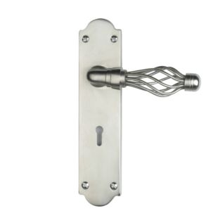 View B&Q Satin Brass Effect Straight Internal & External Lever Key Lock Door Handle,  Pack of 1 Pair details