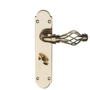 View B&Q Polished Brass Effect Straight Internal Lever Bathroom Door Handle,  Pack of 1 Pair details