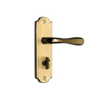 View B&Q Brass Effect Straight Internal Lever Bathroom Door Handle, Pack of 1 Pair details