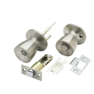 View B&Q Stainless Steel Effect Round Internal WC Knob & Latch, Pack of 1 Pair details