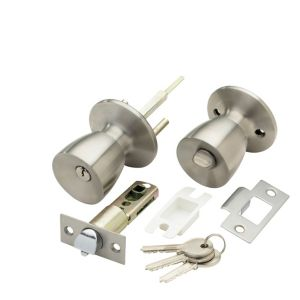 View B&Q Stainless Steel Effect Round Internal Locking Knob & Latch, Pack of 1 Pair details