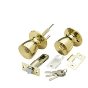 View B&Q Brass Effect Round Internal Locking Knob & Latch, Pack of 1 Pair details