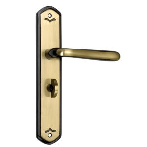 View B&Q Select Antique Brass Effect Straight Internal Lever Bathroom Door Handle,  Pack of 1 Pair details