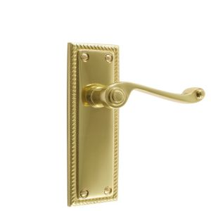 View B&Q Polished Brass Effect Scroll Internal & External Lever Latch Door Handle,  Pack of 1 Pair details