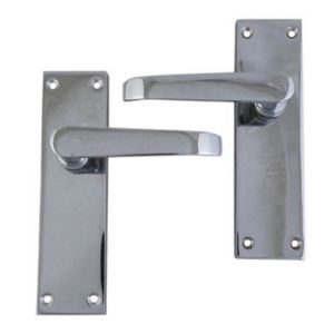 View B&Q Polished Chrome Effect Straight Internal & External Lever Latch Door Handle,  Pack of 1 Pair details