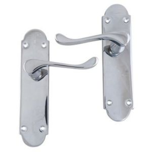 View B&Q Polished Chrome Effect Scroll Internal & External Lever Latch Door Handle,  Pack of 1 Pair details