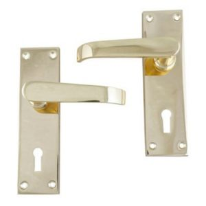 View B&Q Polished Brass Effect Straight Internal & External Lever Key Lock Door Handle,  Pack of 1 Pair details