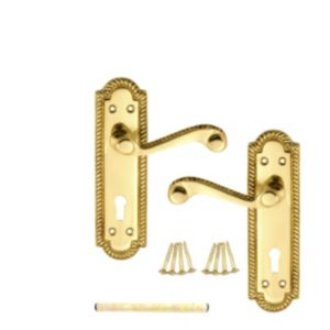 View B&Q Polished Brass Effect Scroll Internal & External Lever Key Lock Door Handle,  Pack of 1 Pair details
