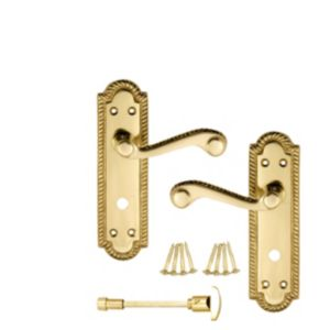 View B&Q Polished Brass Effect Scroll Internal Lever Bathroom Door Handle,  Pack of 1 Pair details