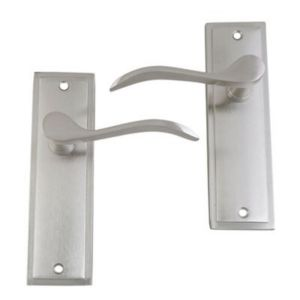 View B&Q Nickel Effect Scroll Internal Lever Latch Door Handle, Pack of 3 details