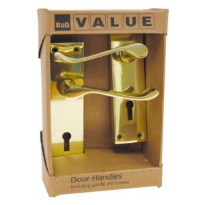 View B&Q Value Polished Brass Effect Scroll Internal & External Lever Key Lock Door Handle, Pack of 1 Pair details