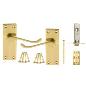 View B&Q Value Polished Brass Effect Scroll Internal Lever Latch Door Handle,  Pack of 1 Pair details