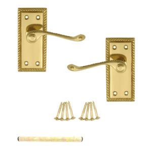 View B&Q Value Polished Brass Effect Scroll Internal Lever Latch Door Handle, Pack of 3 details