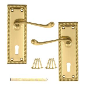 View B&Q Value Polished Brass Effect Scroll Internal & External Lever Key Lock Door Handle, Pack of 1 details