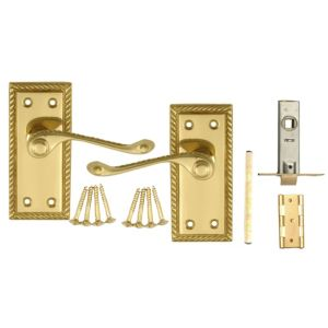 View B&Q Value Polished Brass Effect Scroll Internal Lever Latch Door Handle, Pack of 1 details