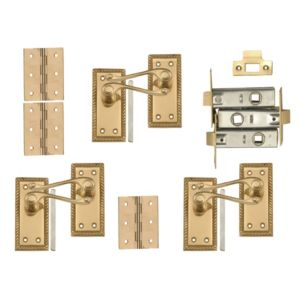 View B&Q Value Polished Brass Effect Scroll Internal Lever Latch Door Handle,  Pack of 3 Pairs details