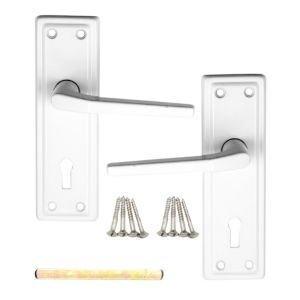 View B&Q Value Straight Internal & External Lever Key Lock Door Handle,  Pack of 1 Pair details